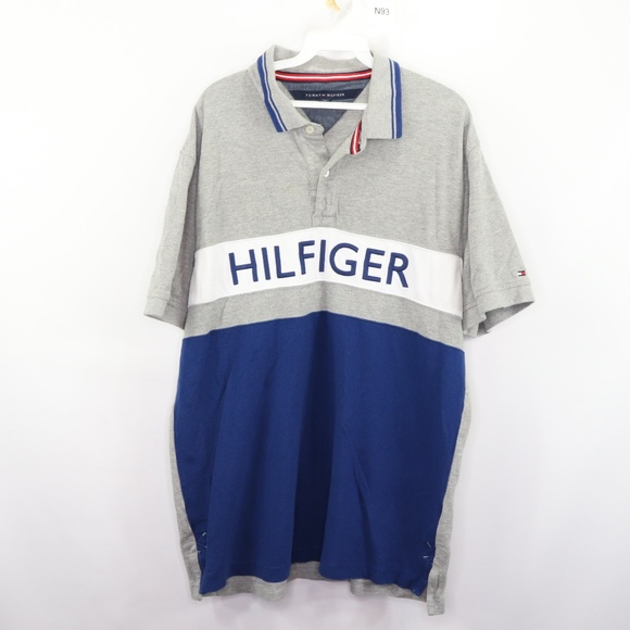 d45d8142 Tommy Hilfiger Shirts | Mens Xl Spell Out Polo Shirt Gray | Poshmark